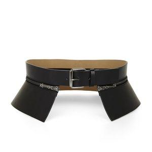 BCBG Black Waist Belt Faux Leather Zip Peplum Wide